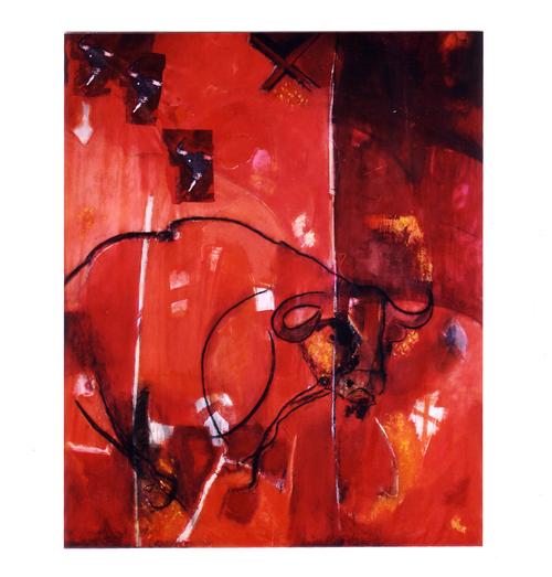 Course poursuite  Technique mixte ,acrylique sur toile libre 300 x200 2004