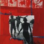 Danser sur les vaguesTechnique  mixte, acrylique, collage sur toile 61 x 50  2002 Vendu