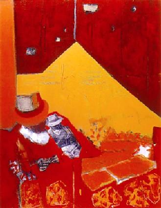 Les vivants ne sont pas des ombres 1Technique  mixte, acrylique, collage sur toile  146 x114  2001 Vendu