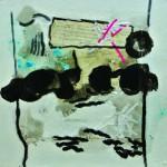 Ce qui s'écrit dans les nuagesAcrylique, encre, collage sur carton  40 x 40  2012