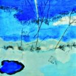 Le ciel s'étire infiniment Acrylique, collage, fusain sur toile  60 x 60  2012  Vendu