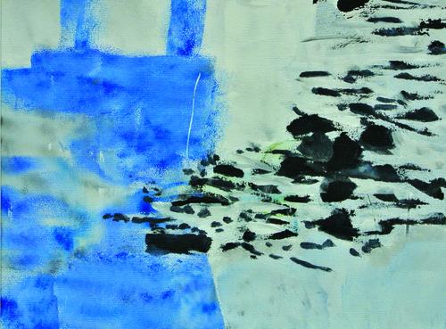 A tire d'ailes  3    Technique mixte, acrylique, collage, encre sur papier 32  x 24 2012 < br> Vendu