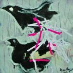 Comme on fait son nid…    Technique mixte, acrylique, collage sur papier 20 x 20 2012