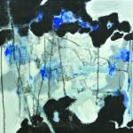 Entrelacs de nuages avant l'orage Acrylique, collage, fusain  ,sur toile  50 x 50 2012