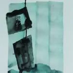 Ne tient que par un fil    Technique mixte, acrylique, encre de chine sur papier 30  x 24 2012  -
