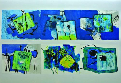 Comme des jardins d'azur    Technique mixte, acrylique sur 6 papiers assemblés 100 x 64 2012