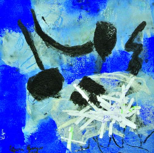 Passages    Technique mixte, encre, acrylique, collage sur papier 20 x20 2012