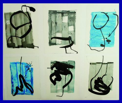 Ecritures - passages    Technique mixte, encre, acrylique, sur papiers assemblés 90 x 80 2012  - Vendu
