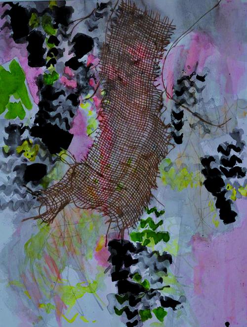 Fragments d'éternité Acrylique, collages sur papier - 69 x 50 - 2010
