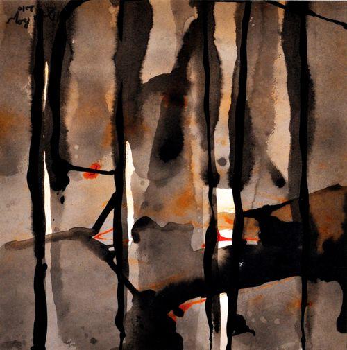 De part en part    Technique mixte, acrylique sur  papier  30 x 30 2010Vendu -