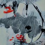 Traces arrondies    Acrylique sur  papier 30 x 30 2010 Vendu