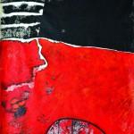 Chemins de traverseAcrylique sur drap froissé 189 x 130 2014-