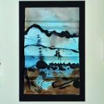 Douceur d'après l'orage    Encre de chine, brou de noix, acrylique sur papier plié 18 x 27  2014