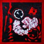 La roue tourne Acrylique sur taie d'oreiller froissée et remplie de kapok  70 x 70 2014