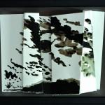 La vérité de l'instant    Encre de chine sur papier plié, dans une caisse américaine  40 x 48 2014