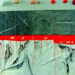 L'aurore se lève au bord du litAcrylique, sur drap froissé, pelotes de coton130 x 97 2013-