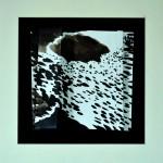 Vagues du soir en gouttes de pluie                                            Encre de chine sur papier plié  25 x 25  2014