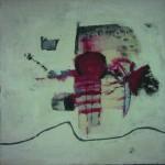 Ce qu'il en reste    Technique mixte, acrylique ,collage sur toile   140 x 140  2007