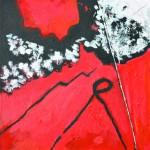 Rencontre improbable  n° 4    Acrylique sur drap froissé 50 x 50  2015