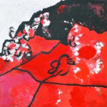 Rencontre improbable n°1    Acrylique sur drap froissé 50 x 50 2015 Vendu