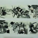 Quand s'effeuille l'orage    Technique mixte,  fusain , encre  sur papiers assemblés90 x 40   2012 Vendu