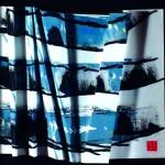 D'obscures labyrinthes  Acrylique, encre de chine sur papier plissé  43 x 43  2015