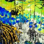 E n attendant l'heure bleueAcrylique sur drap de lin froissé, toile libre 200 x 200  2016