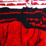 Le creux du ventTechnique mixte, collage sur toile de lin froissée  130 x 89  2014