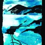Partir à l'aventure Acrylique, encre de chine sur papier plissé  40 x 62  2016