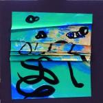 Avec plus de tendresse  Acrylique, encre sur papier plissé - 25 x 25 - 2016- Vendu