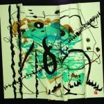 Ce désir que rien ne va vaincre   Acrylique-fusainyencre- liner sur papier plissé -60 x 60 - 2018