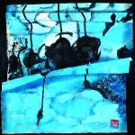 Cheminer l'aventure   Acrylique sur papier plissé 43 x 43 - 2014