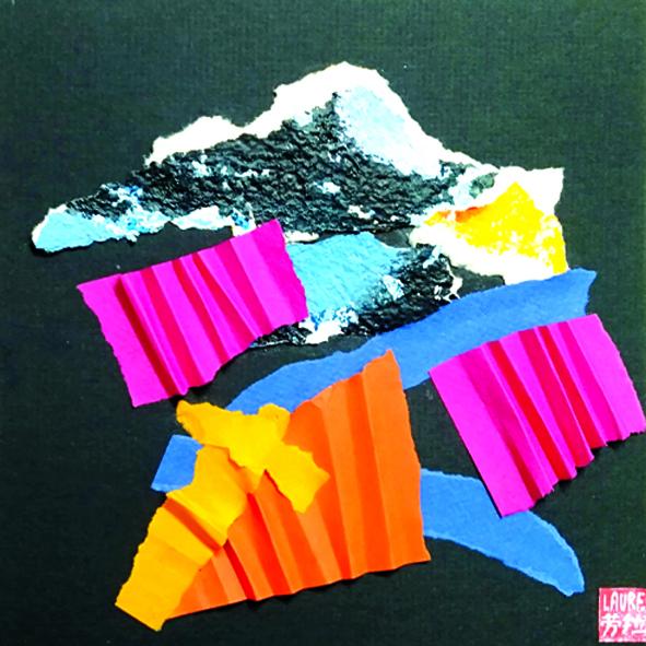 Couleurs de rêves ,Collage, encre sur papier - 23 x 23 - 2020