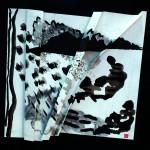 Des rivages inconnus   Encre de chine fusain liner sur papier plissé  60 x60 - 2018