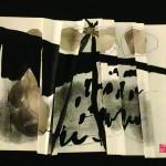 Difficile de trouver son chemin   Encre fusain sur papier plissé - 48 x 40 - 2017