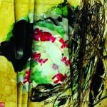Entrelacs   Acrylique sur papier plissé - 35 x 35 - 2016 - Vendu