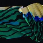 Ecouter gémir le vent   Acrylique, encre sur papier plissé - 35 x 11 - 2016- vendu