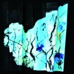 Garder la mémoire d'un frémissement Acrylique, encre sur papier plissé - 25 x 25 - 2014