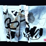 La spirale du vent   Encre , brou de noix, fusain ,liner sur papier plissé - 4_ x 40 - 2017