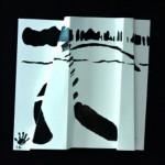 L' arc en ciel descend vers l'Automne   Encre de chine sur papier plissé-25 x 25 - 2014 - Vendu