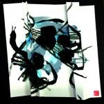 L'écart en jeu   Acrylique sur papier plissé - 35 x 35 - 2016