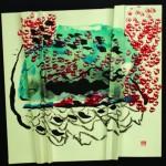 Passent les ailes   Acrylique- encre- liner sur papier plissé - 60 x 60 - 2018 -