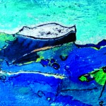 Parti dans le secret des flotsAcrylique sur  toile plissée 92 x 62 - 2019 -