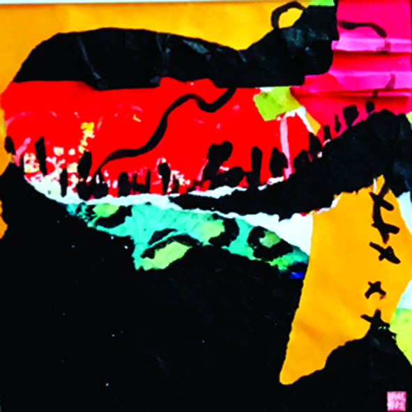 Quitter le quai pour le large - Collage, encre sur papier - 52 x 52- 2020