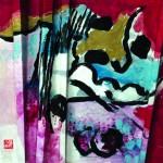 Un instant de clartéacrylique sur papier plissé -  35 x 35 - 2016- Vendu
