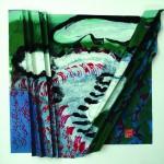 Vagabondages   Acrylique sur papier plissé - 35 x 35 - 2016 - Vendu