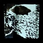 Vagues du soir en gouttes de pluie   Encre de chine sur papier plissé - 25 x 25 - 2014