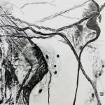 Au delà du regard - Encre, Fusain, Papier soie- 57 x 57 - 2021