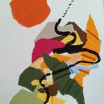 LA LUNE EST RONDE COMME UNE ORANGE - Collage- encre 30 x 42 - 5 - 2020