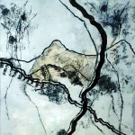 La terre silencieuse- Encre Fusain Papier de soie sur carton - 40 x 40 - 2021